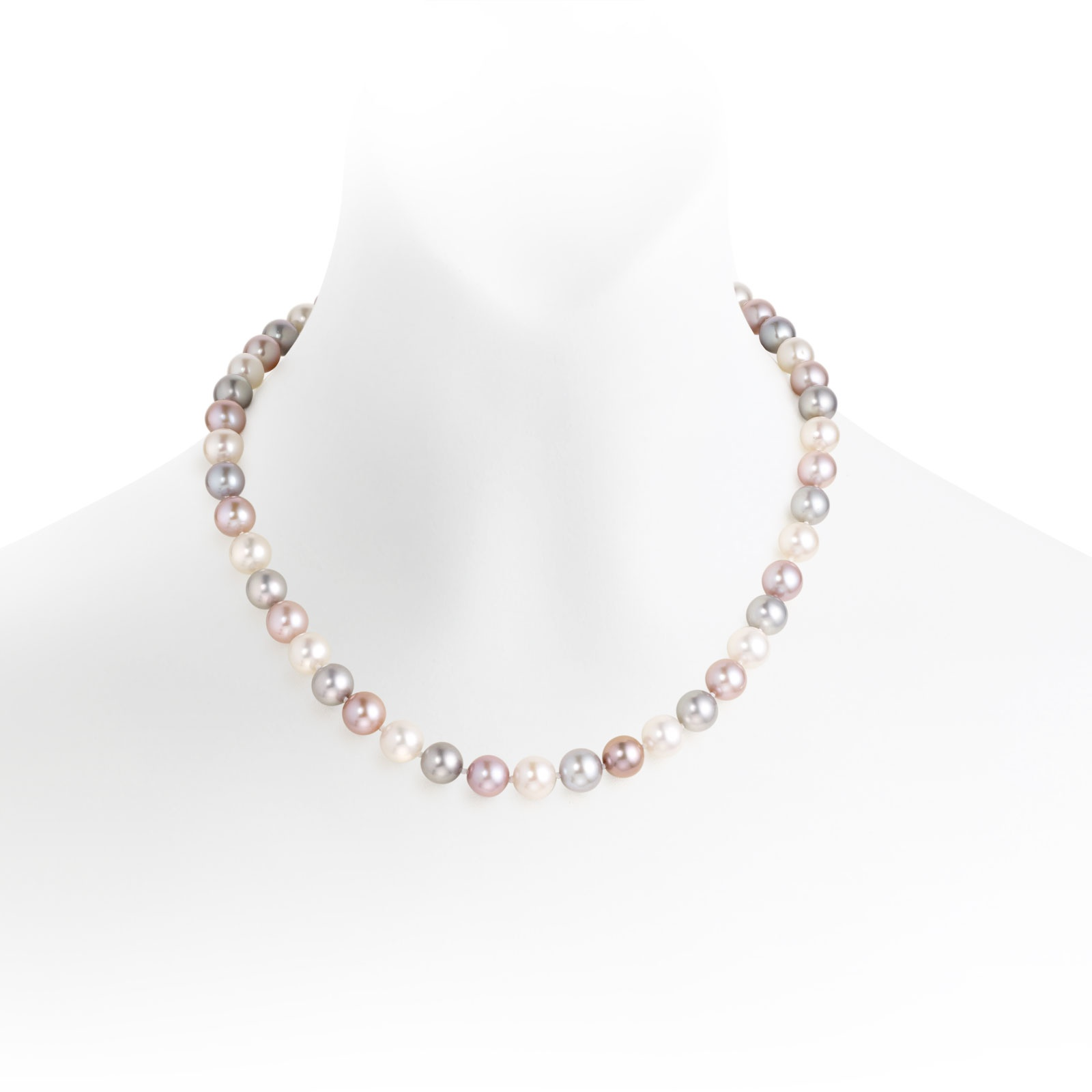 White, Pink and Grey Freshwater Pearl Necklace with Silver-FNTRSS0054-1