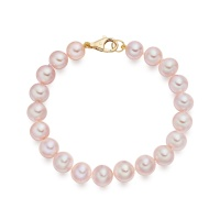 Pink Freshwater Pearl Bracelet with 18ct Gold Clasp