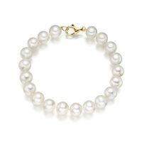 Large White Freshwater Pearl Bracelet with 18ct Gold Clasp