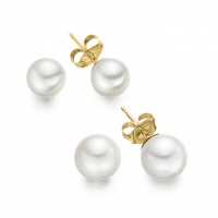 White Round Freshwater Pearl Stud Earrings with 18ct Yellow Gold
