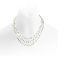 Triple Strand Freshwater Pearl Necklace with Diamond Clasp