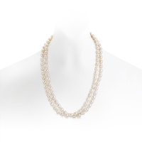 Long White Oval Freshwater Pearl Necklace with Silver Clasp