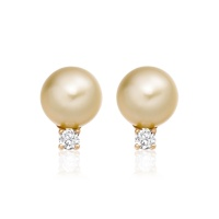 Golden South Sea Pearl and Diamond Stud Earrings