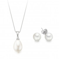 Bridal Pearl and Diamond Pendant and Earrings Set