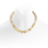 Multi-coloured Gold South Sea Pearl Necklace with Pave Diamonds