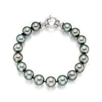 Tahitian Grey Pearl Bracelet with 18ct White Gold Spring Ring Clasp