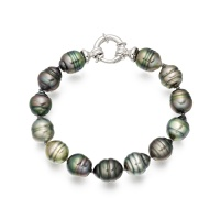 Multi-coloured Baroque Tahitian Pearl Bracelet with 18ct White Gold