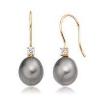 Tahitian Drop Pearl and Diamond Hook Earrings in Yellow Gold