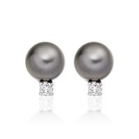 Tahitian Pearl and Diamond Stud Earrings in 18ct White Gold