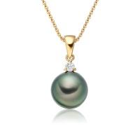 Peacock Green Tahitian Pearl and Diamond Pendant