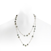 Long Grey Baroque Tahitian Pearl Sautoir Necklace with Silver