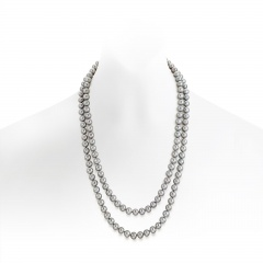Long Grey Freshwater Pearl Rope Necklace with Silver Clasp