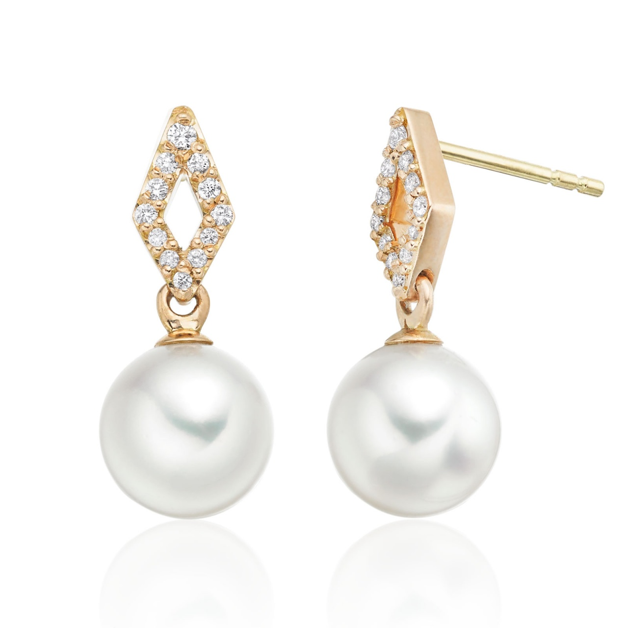 Zigzag Akoya Pearl and Diamond Earrings in Rose Gold
