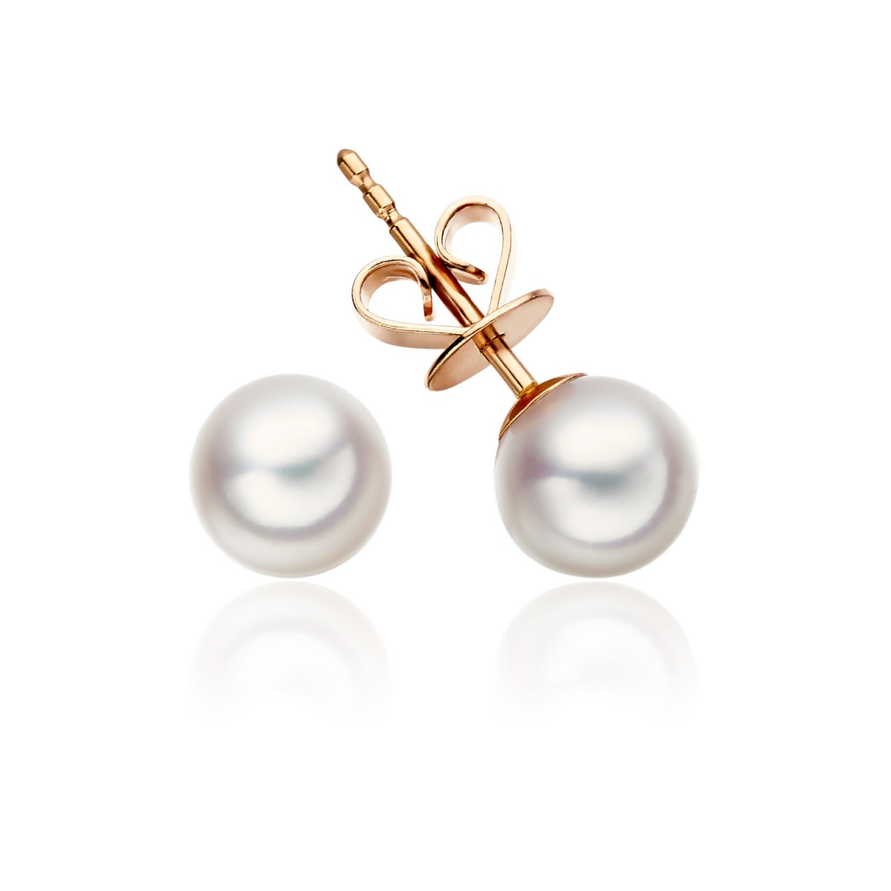 Classic White Akoya Pearl Stud Earrings in 18 Carat Rose Gold-1