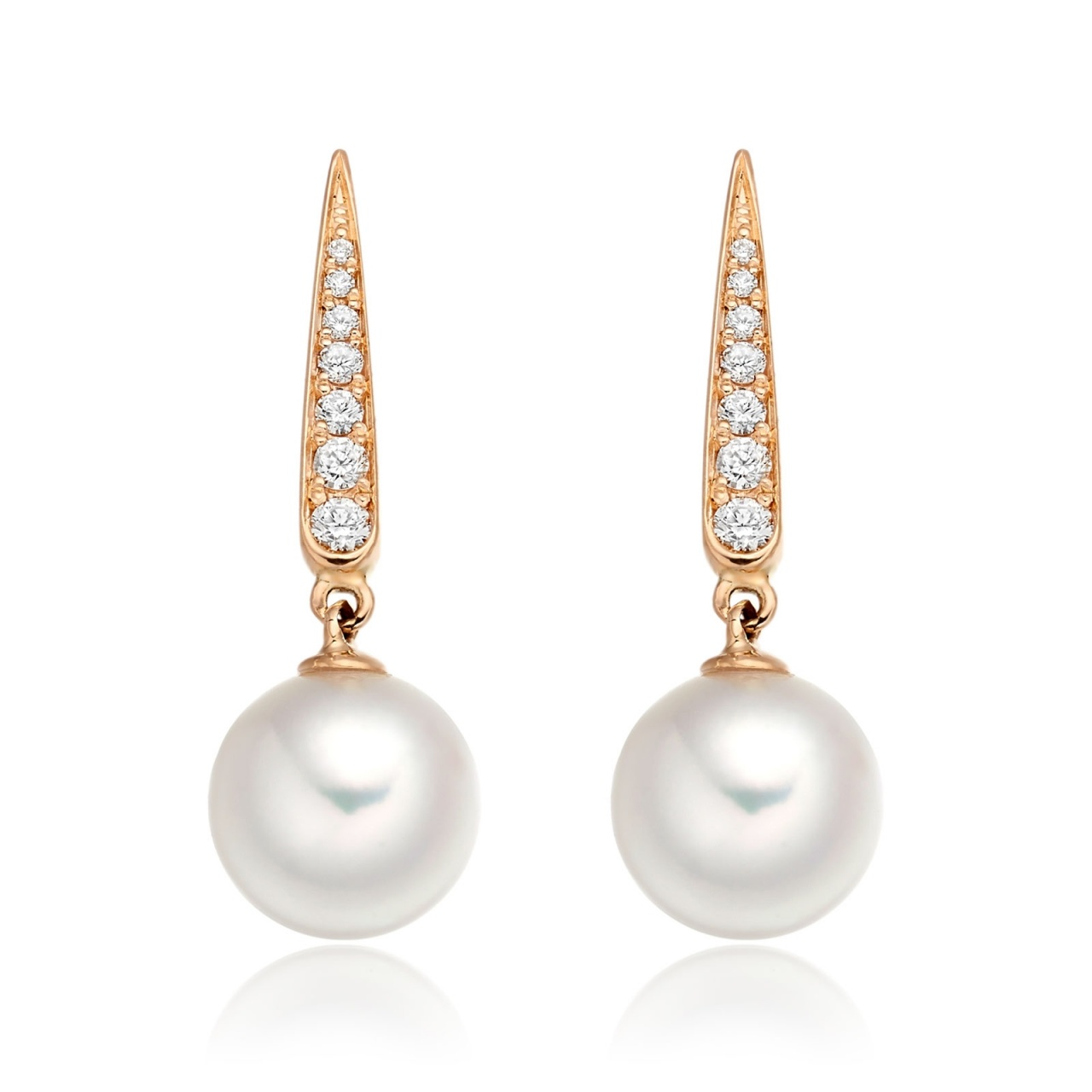 Mythologie Dewdrop Akoya Pearl Earrings in Rose Gold-AEWRRG1215-1