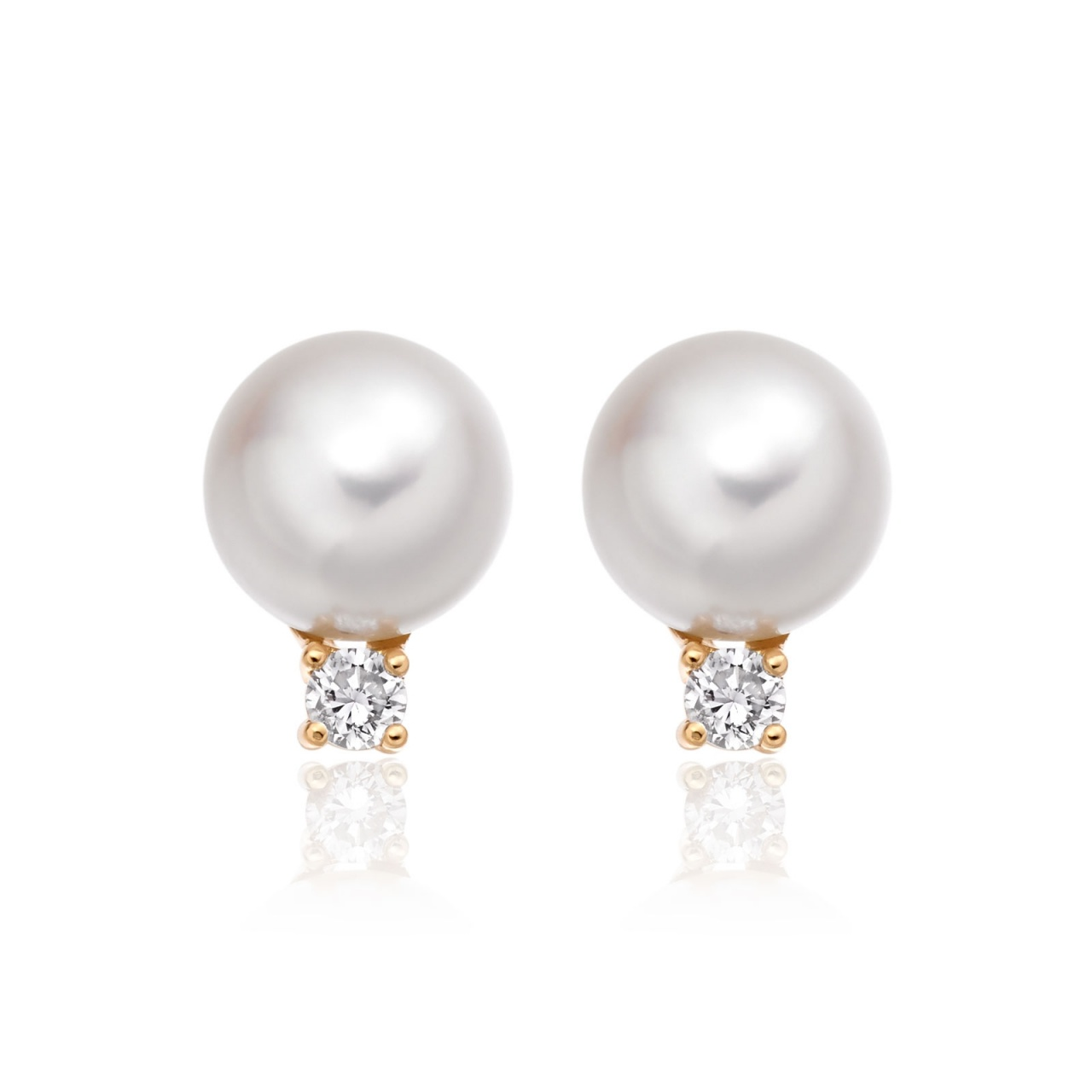 Luxury Akoya Pearl and Diamond Studs in Rose Gold-AEWRRG1307-1