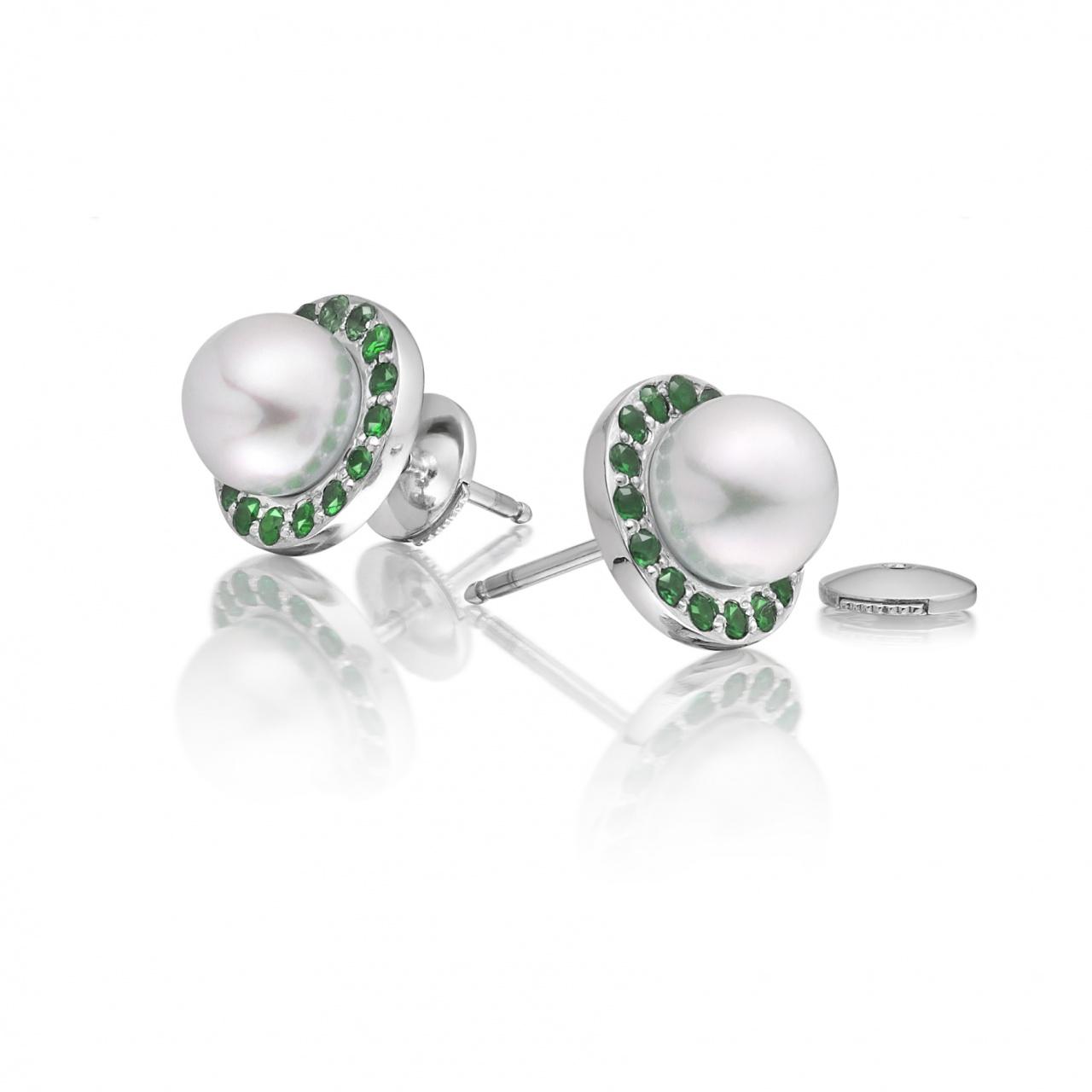Tsavorite Garnet and Akoya Pearl Stud Earrings with 18ct Gold