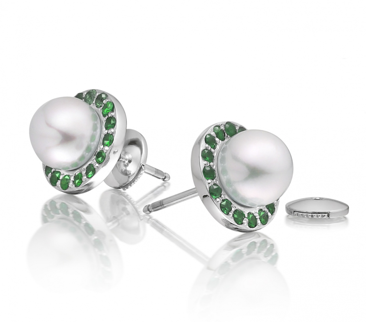 Akoya Pearl and Tsavorite Garnet Halo Studs in White Gold