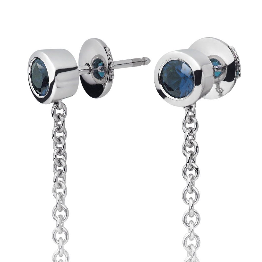 Akoya Pearl and Blue Sapphire Drop Earrings in White Gold ...