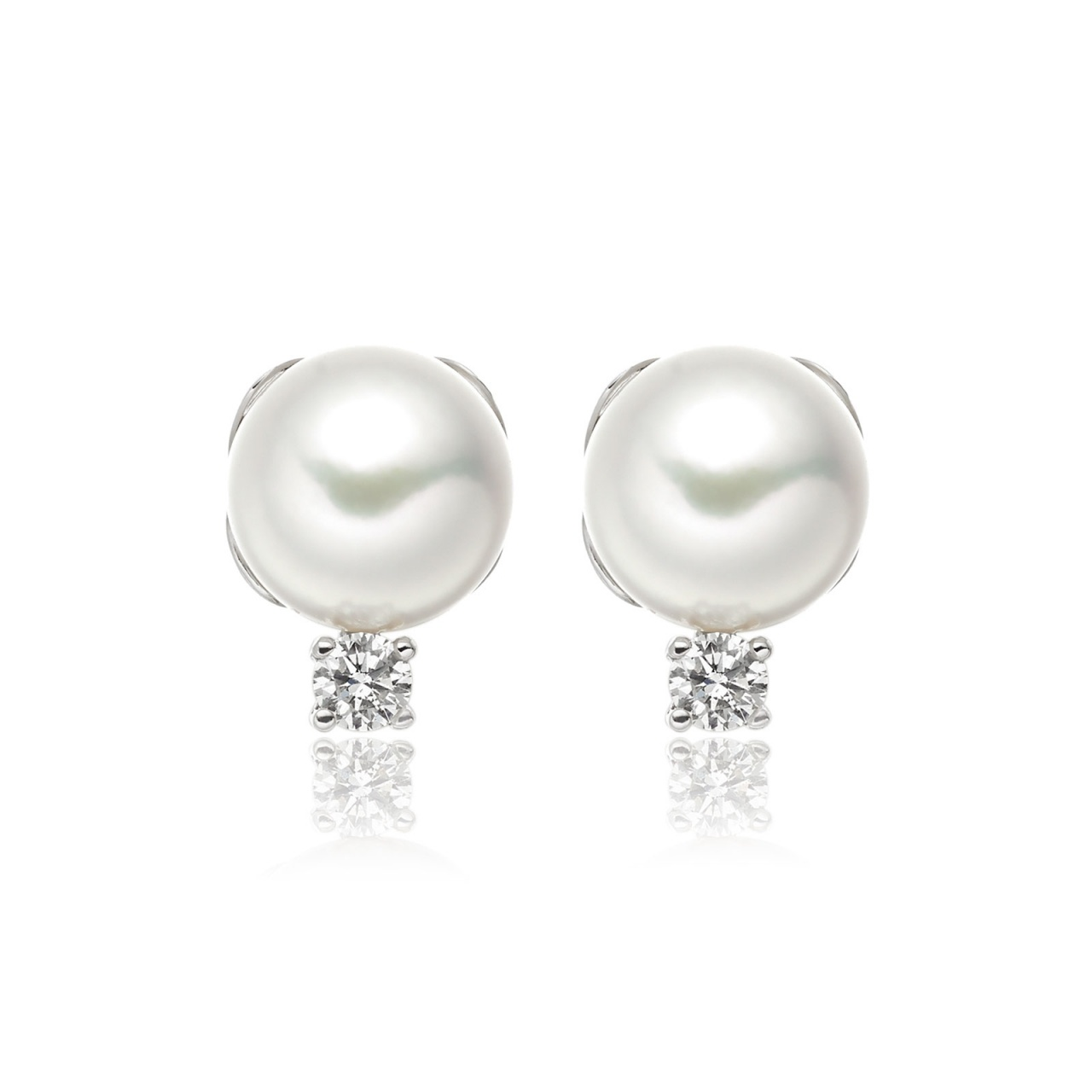Entwined Akoya Pearl and Diamond Studs in White Gold-AEWRWG0417-1