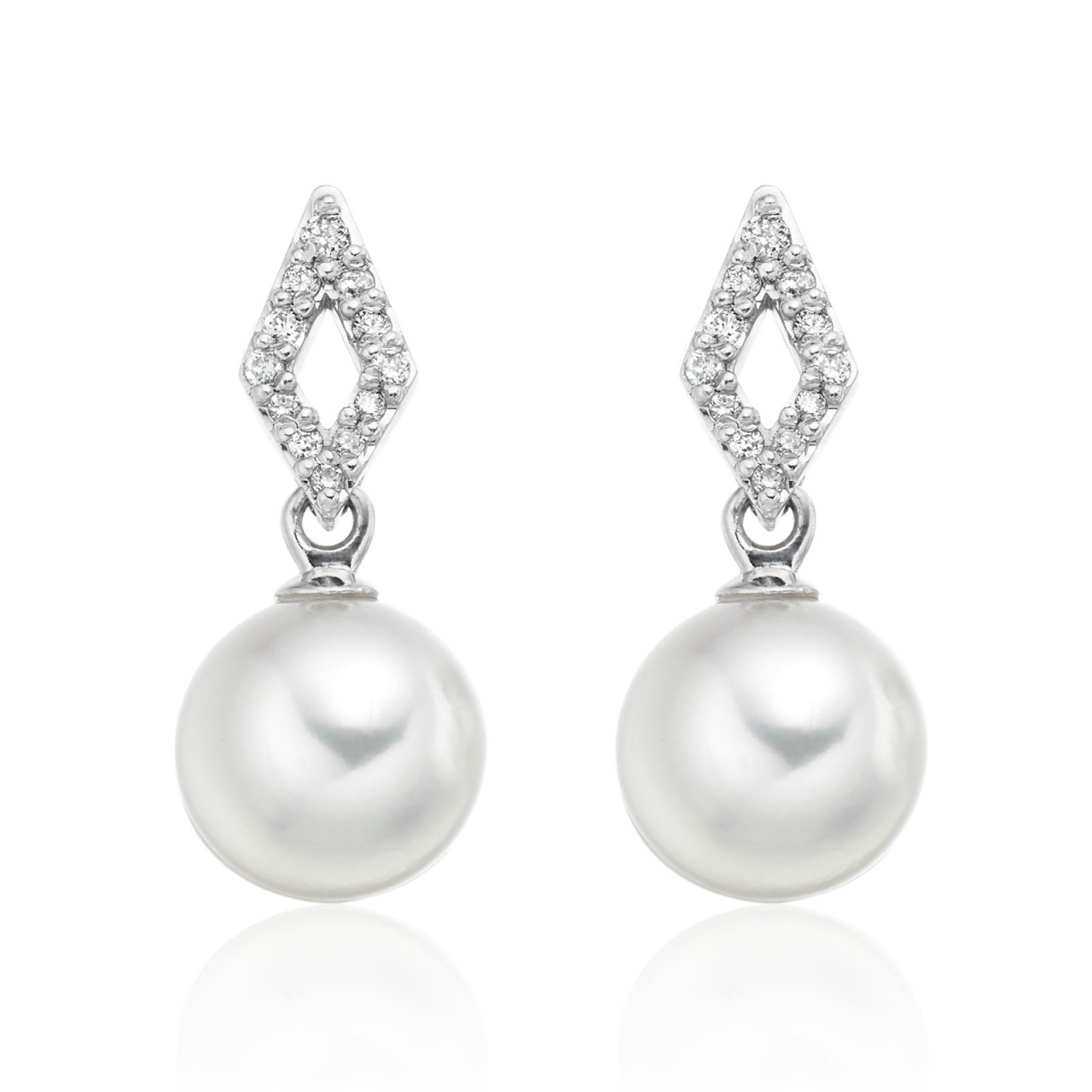 Zigzag Diamond Earrings in White Gold with Akoya Pearls