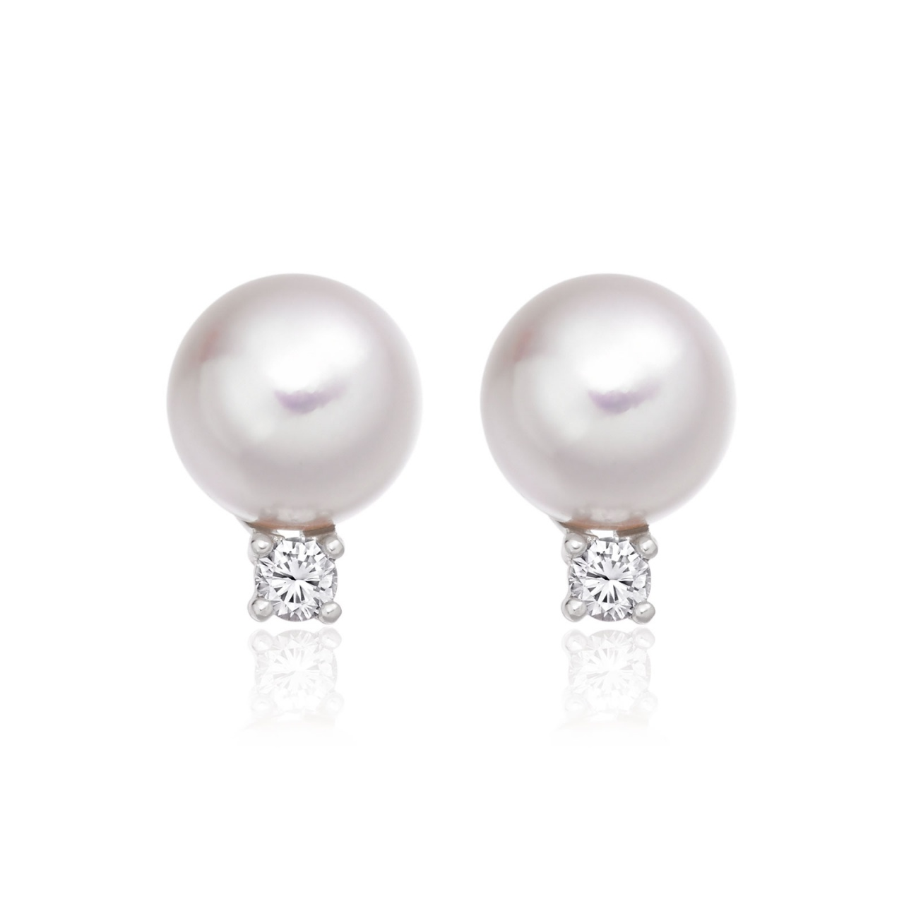 9mm Akoya Pearl and Diamond Stud Earrings in 18ct White Gold - AEWRWG0617-1