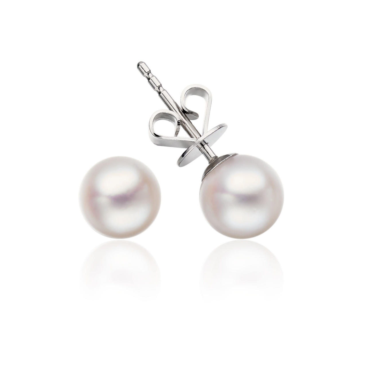 Classic White Akoya Pearl Stud Earrings in 18 Carat White Gold-1