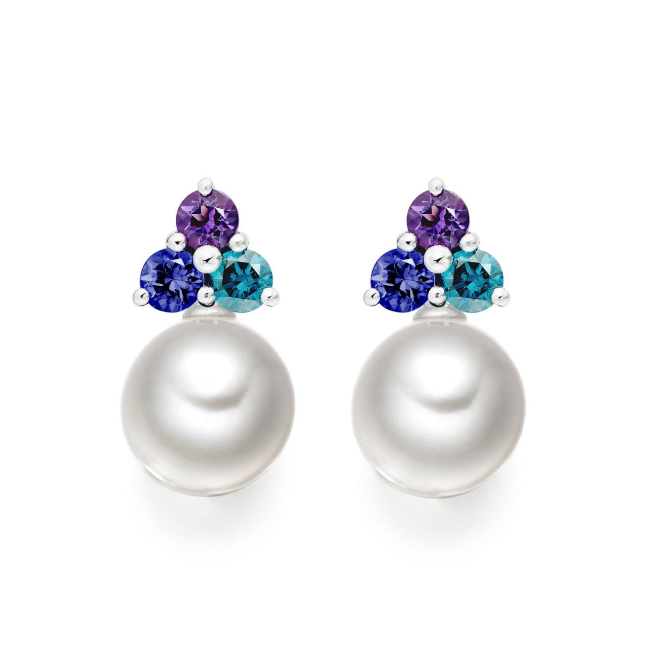 Astral Lagoon Studs in White Gold with Akoya Pearls-AEWRWG1337-1