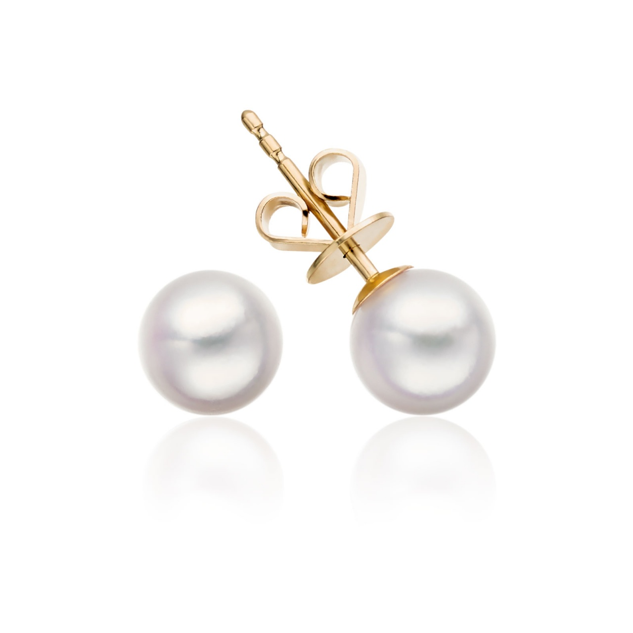 Classic White Akoya Pearl Stud Earrings in 18 Carat Yellow Gold-1