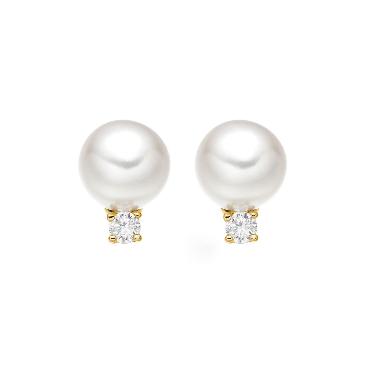 Classic Akoya Pearl and Diamond Studs in Yellow Gold-AEWRYG0367-1