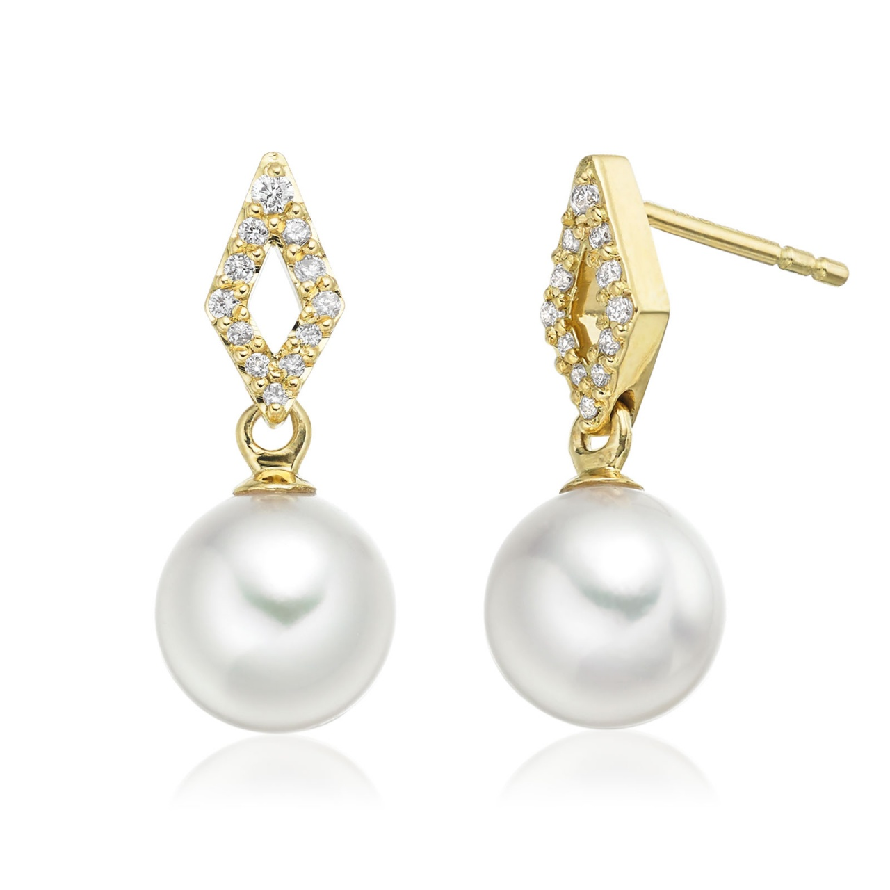 Zigzag Akoya Pearl and Diamond Earrings in Yellow Gold