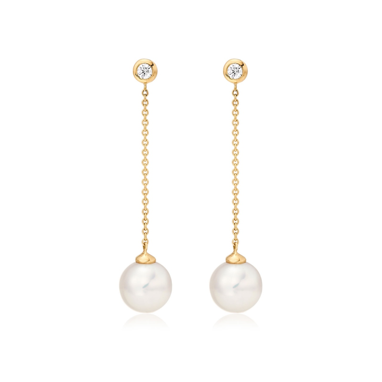 Akoya Pearl and Diamond Constellation Earrings in Yellow Gold-AEWRYG1228-1