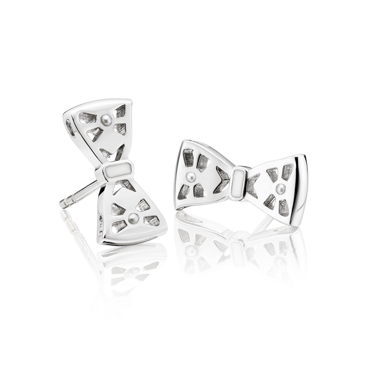 Beau Seed Pearl and Enamel Studs in White Gold-AEWSWG0318-1
