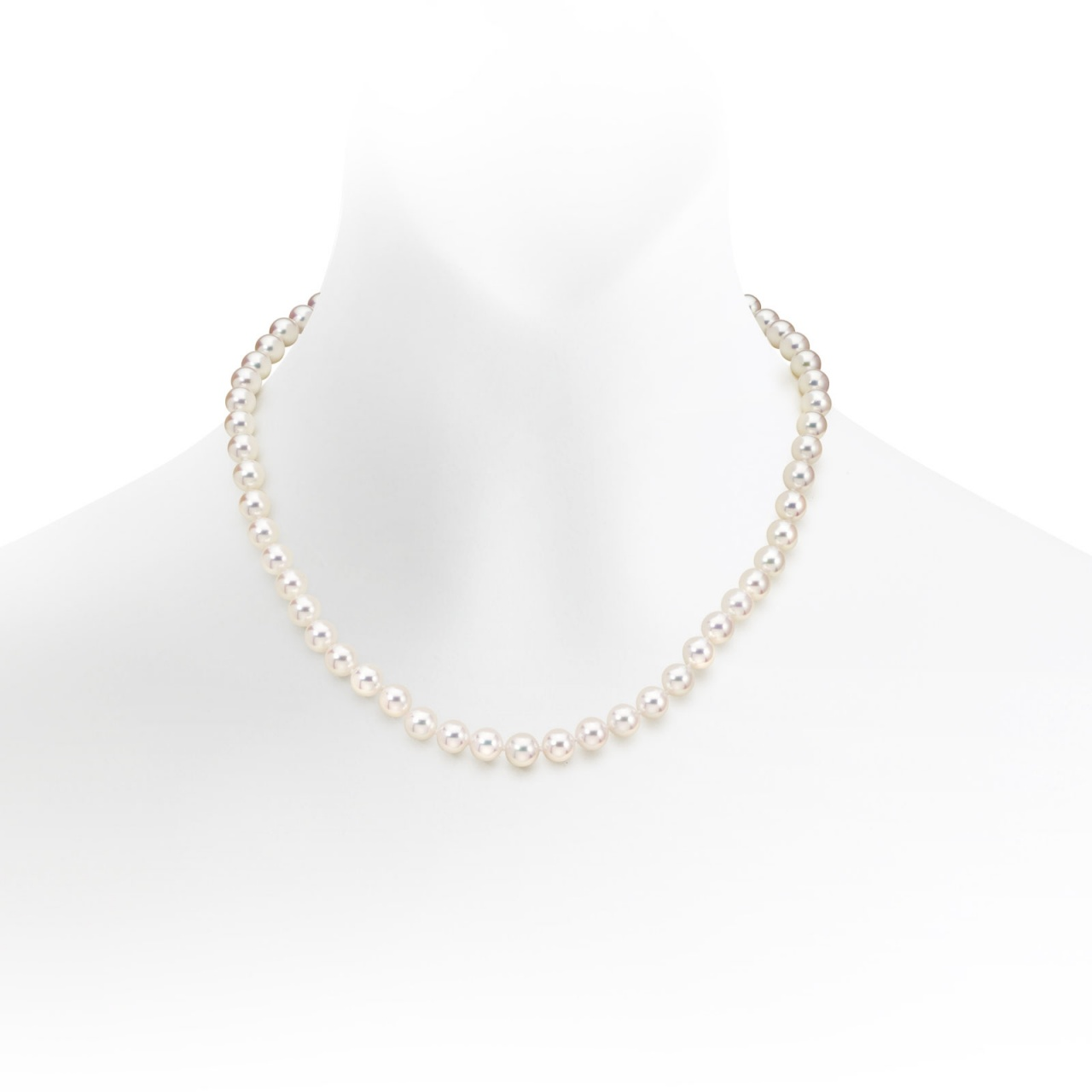 Classic Akoya Pearl Necklace and Earrings Set in White Gold-SETSAK0155-1