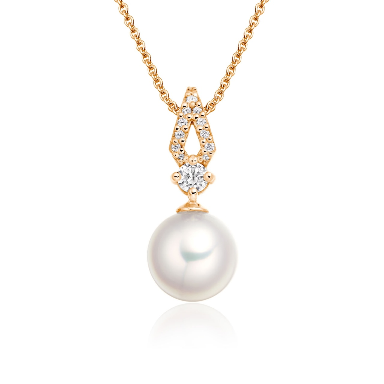 Zigzag Diamond and Akoya Pearl Pendant in Rose Gold-APWRRG1118-1