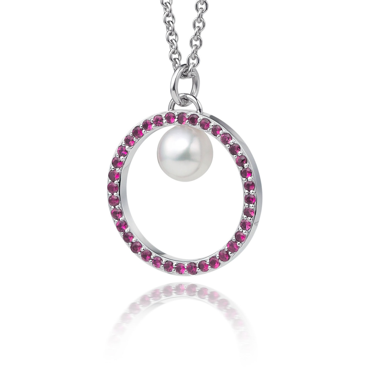 Pink Ruby and Akoya Pearl Pendant with 18ct Gold Chain-APWRWG0128-1