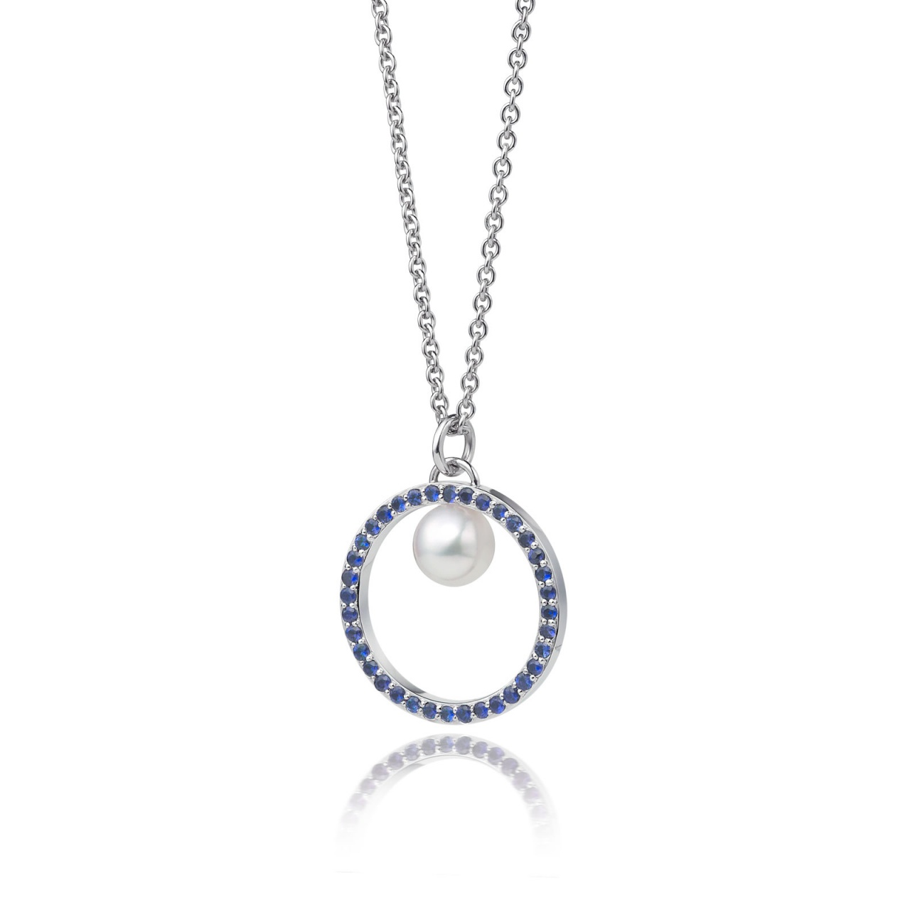 Blue Sapphire and Akoya Pearl Pendant with 18ct Gold Chain-APWRWG0129-1