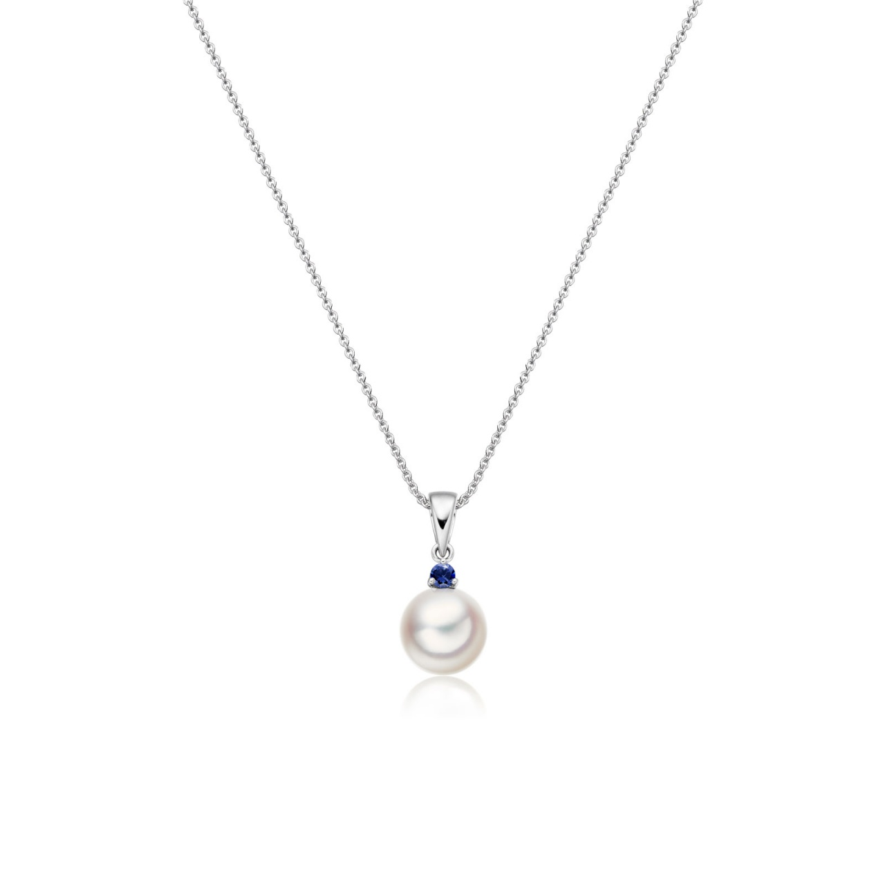 Akoya Pearl and Blue Sapphire Pendant in White Gold-1
