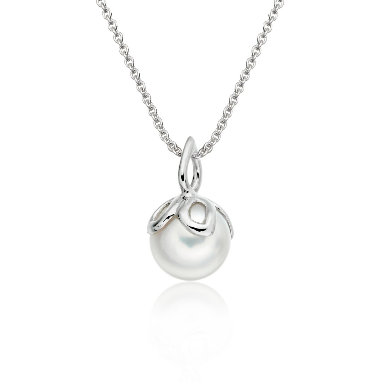 Entwined Pearl Pendant with White Gold Chain-PEVARWG1186-1