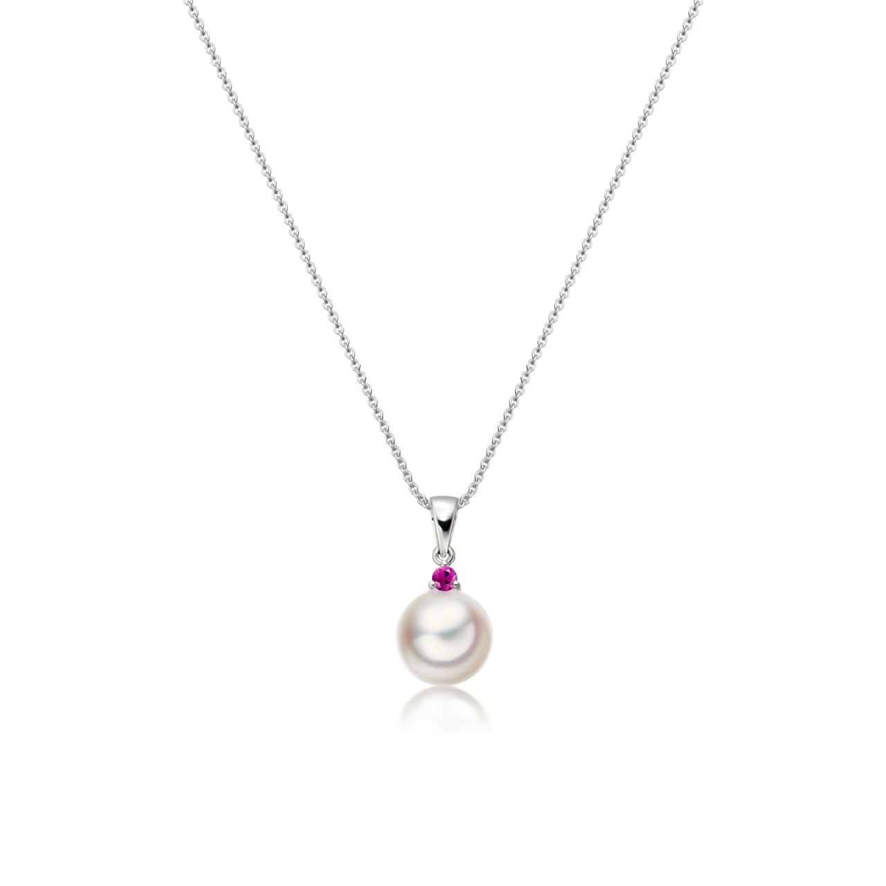 Akoya Pearl and Ruby Pendant in White Gold-1