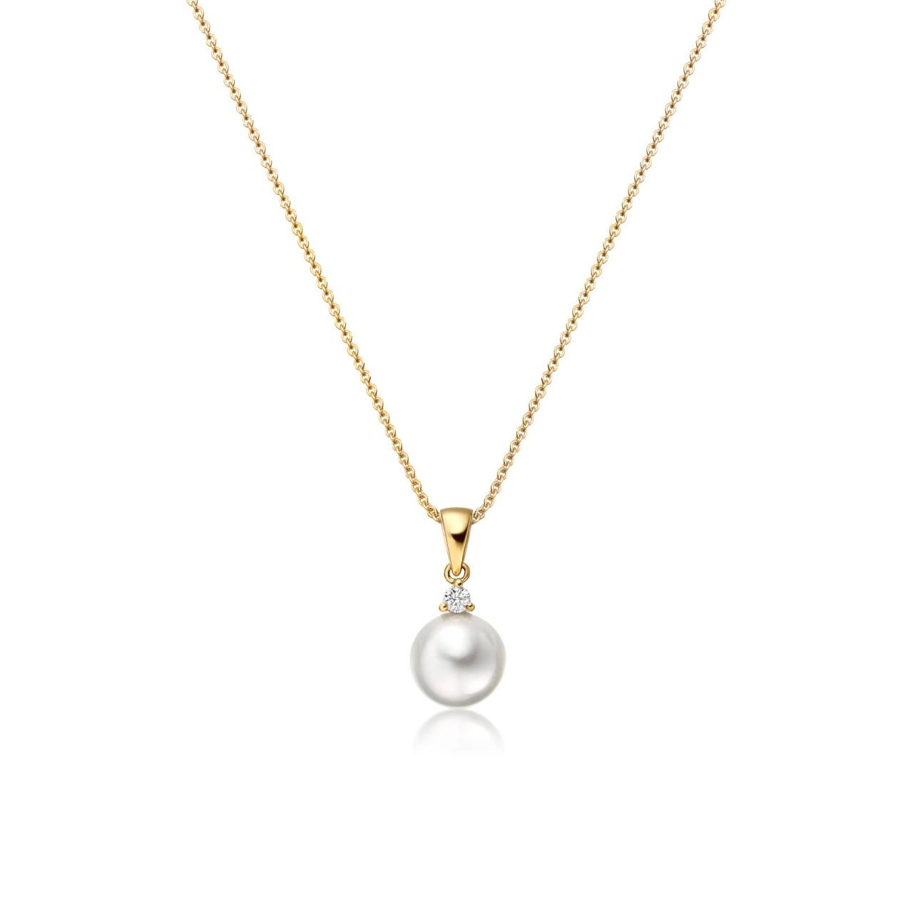 Akoya Pearl and Diamond Pendant with 18ct Yellow Gold-APWRYG0174-1