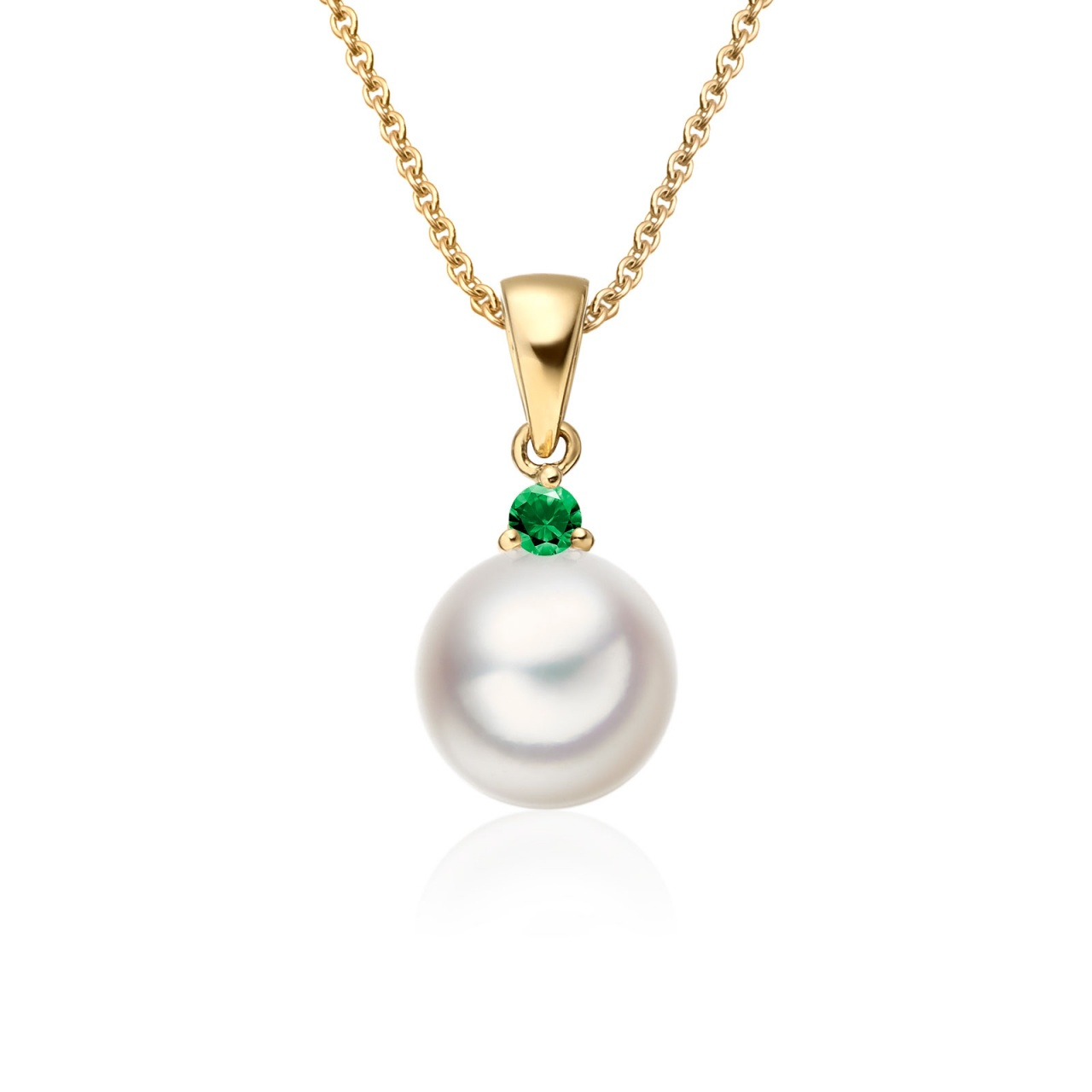 Akoya Pearl and Emerald Pendant in Yellow Gold-1