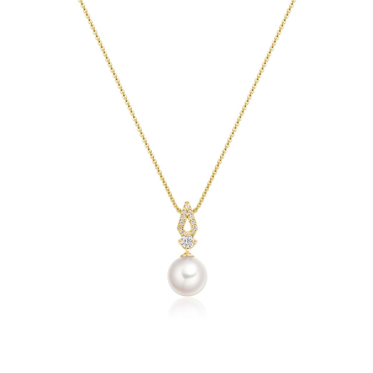 Zigzag Diamond and Akoya Pearl Pendant in Yellow Gold-APWRYG1117-1