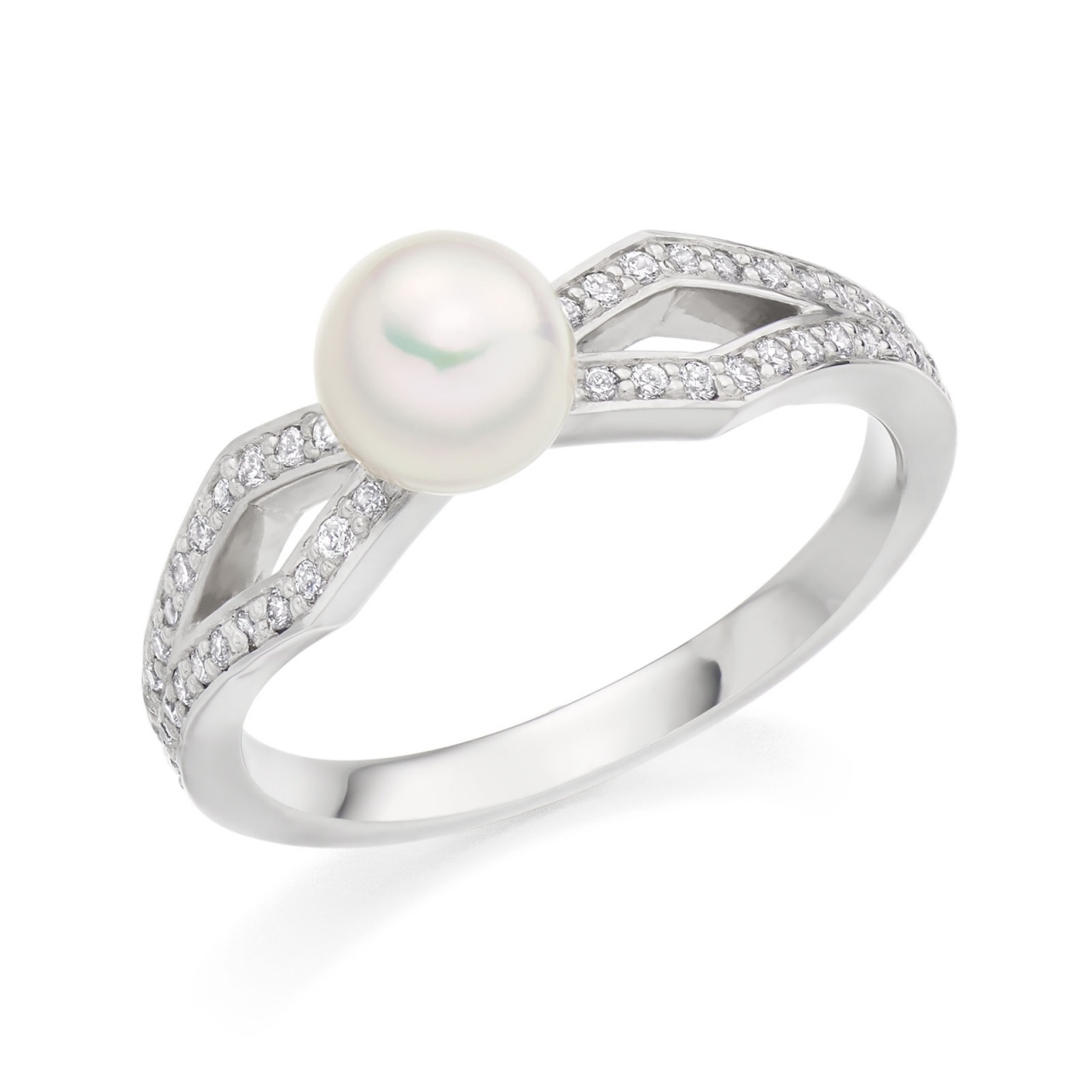 Zigzag Diamond and Akoya Pearl Ring in White Gold-ARWRWG0832-1