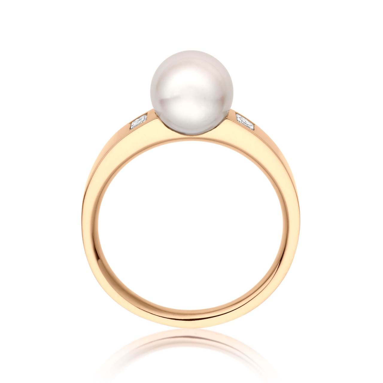 Classic Akoya Pearl and Diamond Ring in Yellow Gold