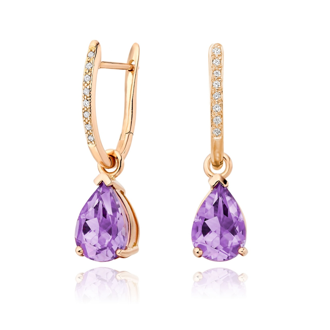 Classic Leverbacks with Mythologie Amethyst Drops in Rose Gold-EAAMRG1113-1
