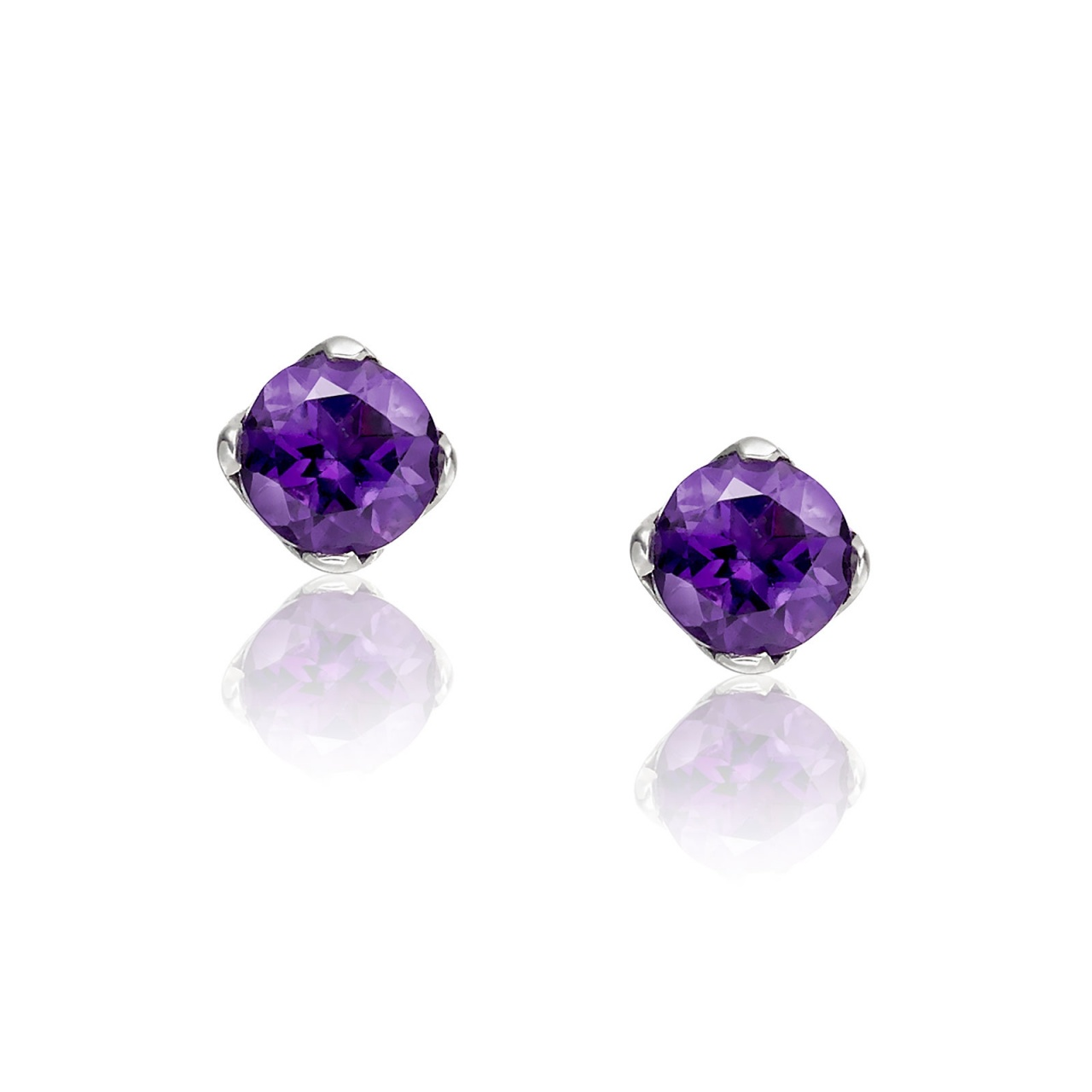 Lief Amethyst Studs in White Gold-EAAMWG0414-1