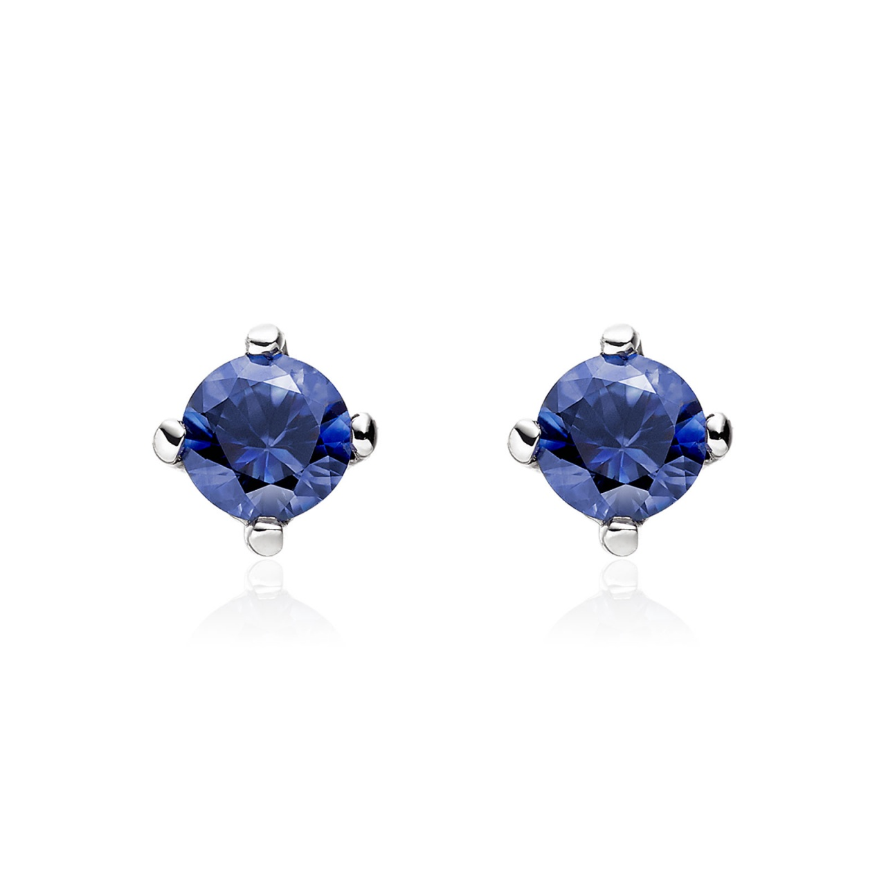 Blue Sapphire Stud Earrings in 18 Carat White Gold-1