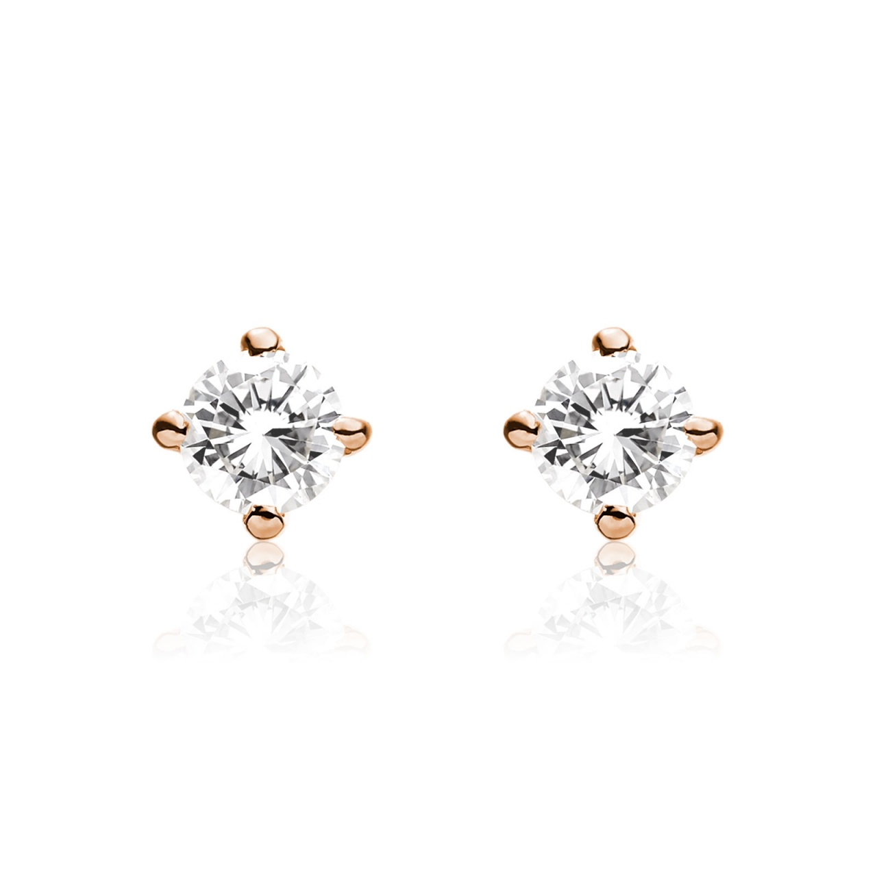 Diamond Studs in Rose Gold with Akoya Pearls-AEWRRG1308-1