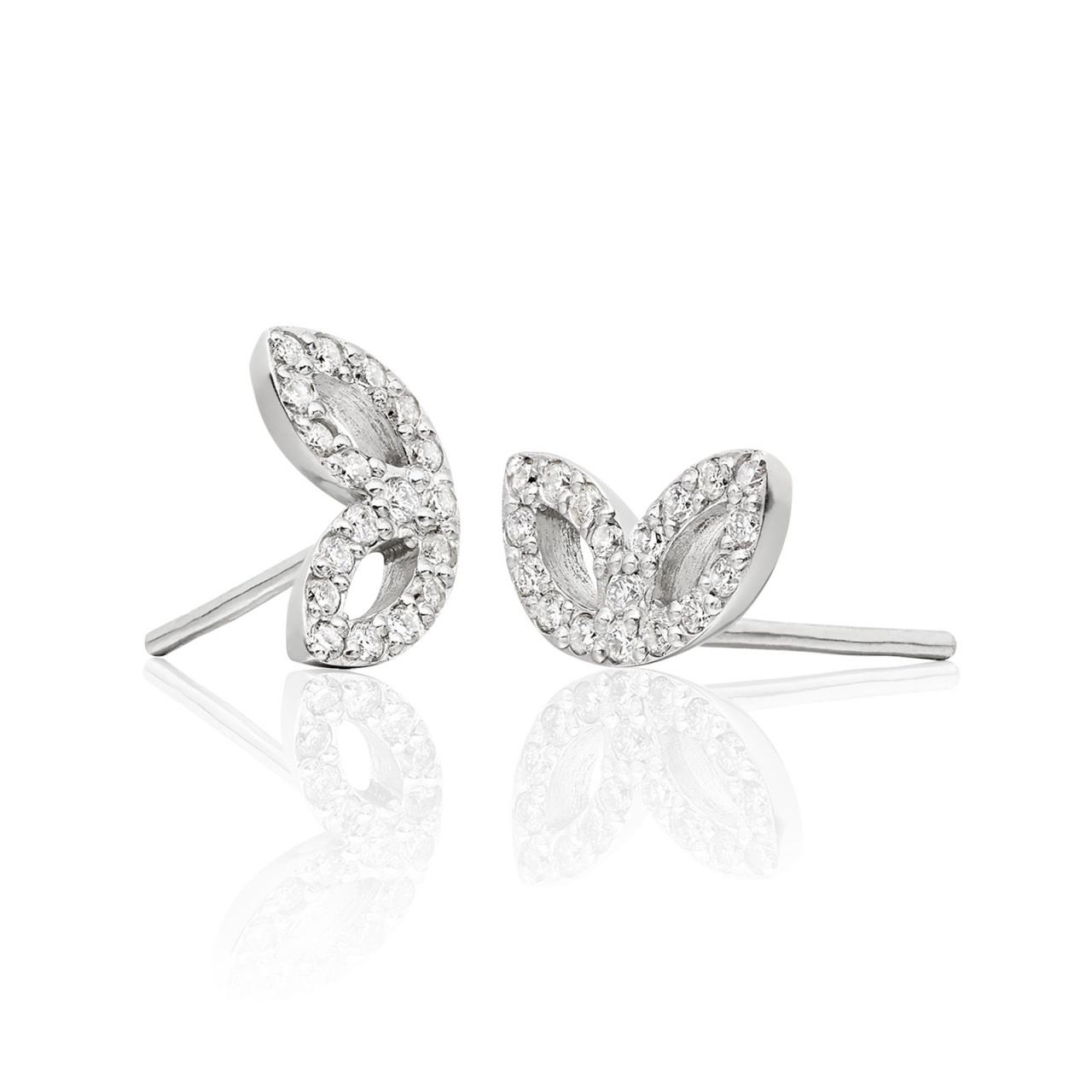 Enchanted Diamond Studs in White Gold with Tahitian Pearls-TEGRWG0486-1